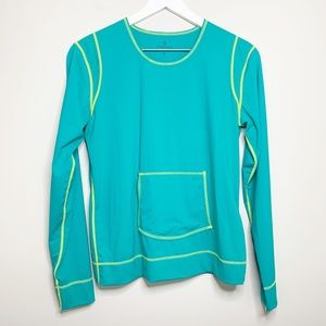 Athleta Teal Long Sleeve Top with Pocket M